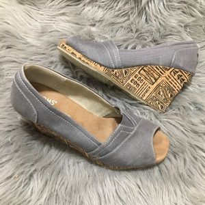 Gray chambray cork wedge peep Toe retro Toms 7